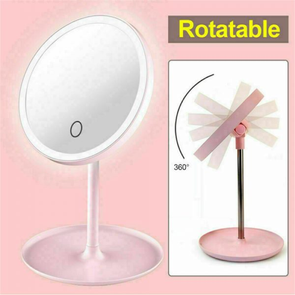 Makeup Mirror Led Desktop With Lamp Portable Usb Charging Three Color Light Dressing Mirror (15)