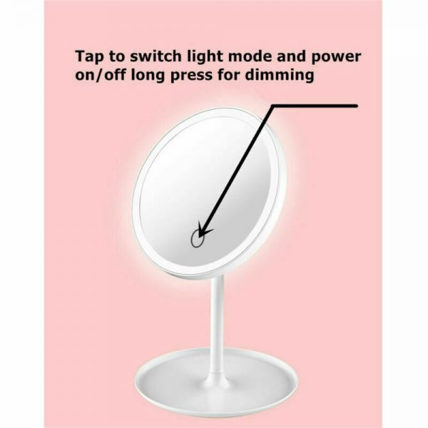 Makeup Mirror Led Desktop With Lamp Portable Usb Charging Three Color Light Dressing Mirror (5)