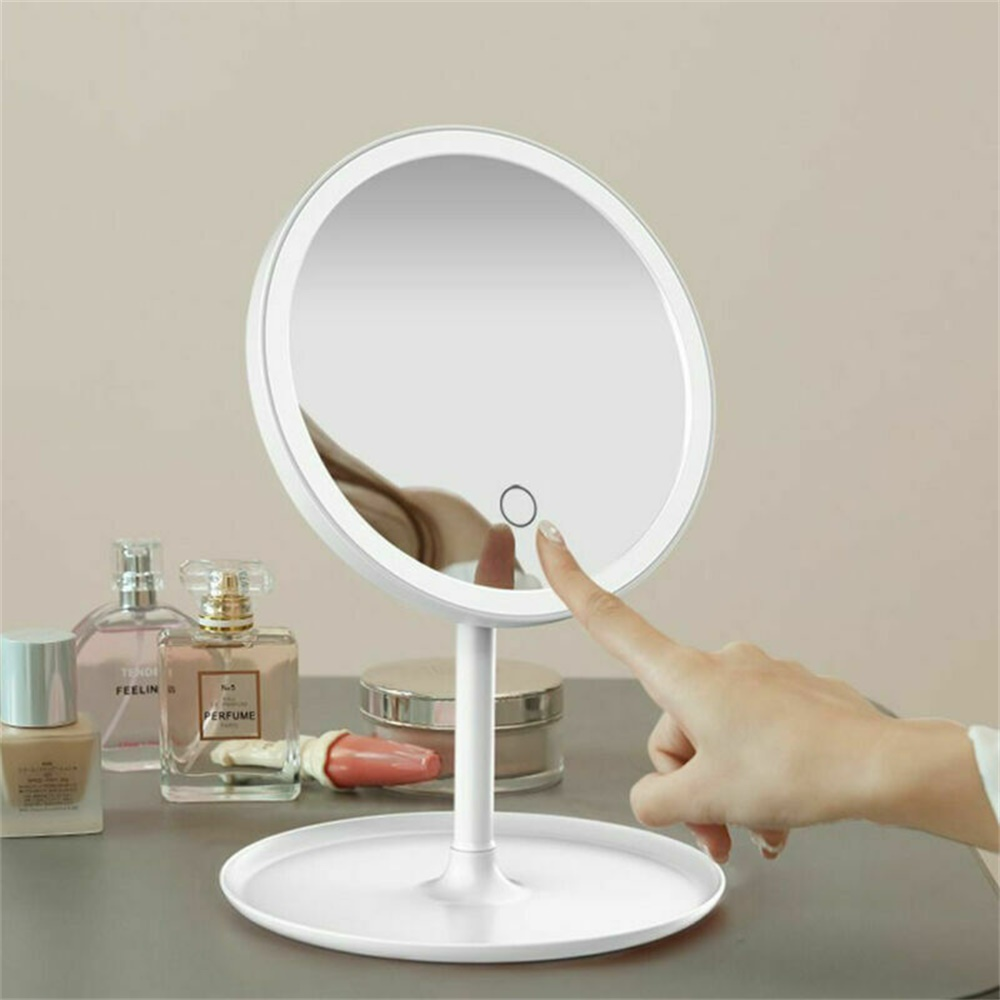 Makeup Mirror Led Desktop With Lamp Portable Usb Charging Three Color Light Dressing Mirror (6)