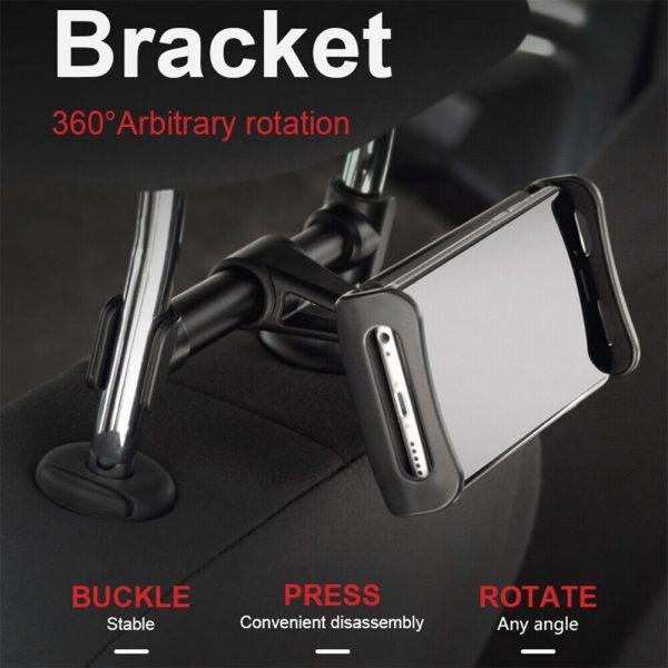 Tablet Back Seat Headrest Phone Bracket 360 Rotation Mobile Phone Tablet Holder (2)