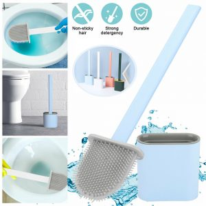 Toilet Brush And Holder Set Holder Set Cleaner Brush Deep Cleaning Silicone For Bathroom (1)