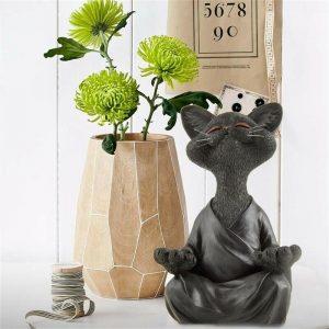 Whimsical Black Buddha Yoga Collectible Happy Cat Decor Yoga Collectible (7)