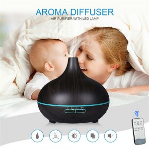 Wood Grain Aroma Diffuser Ultrasonic Essential Oil Aroma Incense Burner Mute Mist Humidifiier (2)