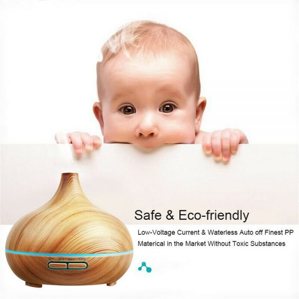 Wood Grain Aroma Diffuser Ultrasonic Essential Oil Aroma Incense Burner Mute Mist Humidifiier (3)