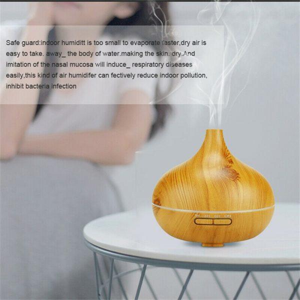 Wood Grain Aroma Diffuser Ultrasonic Essential Oil Aroma Incense Burner Mute Mist Humidifiier (4)