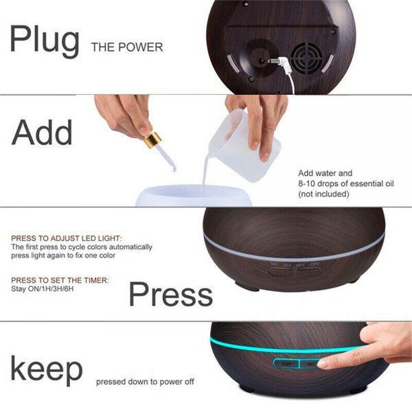 Wood Grain Aroma Diffuser Ultrasonic Essential Oil Aroma Incense Burner Mute Mist Humidifiier (5)