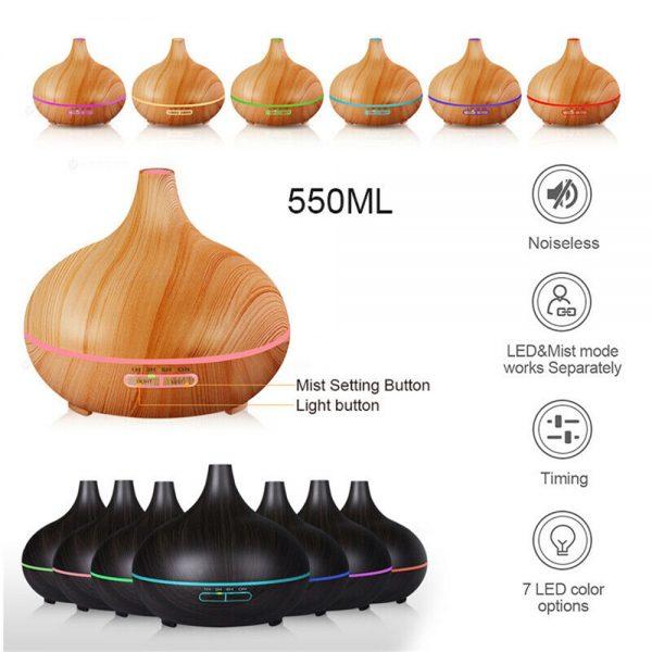 Wood Grain Aroma Diffuser Ultrasonic Essential Oil Aroma Incense Burner Mute Mist Humidifiier (6)