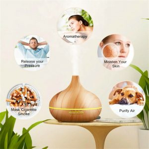 Wood Grain Aroma Diffuser Ultrasonic Essential Oil Aroma Incense Burner Mute Mist Humidifiier (9)